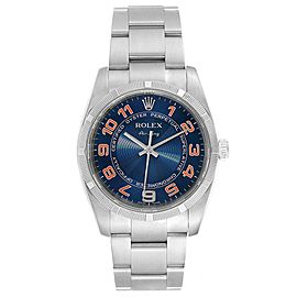 Rolex Air King Gators Blue Concentric Dial Steel Mens Watch 114210