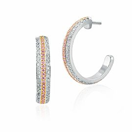 Leibish 18K White and Rose Gold with 1.24ctw Diamond Hoop Earrings