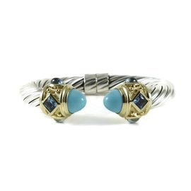 David Yurman Sterling Silver and 18K Yellow Gold with Turquoise and Blue Topaz Bracelet