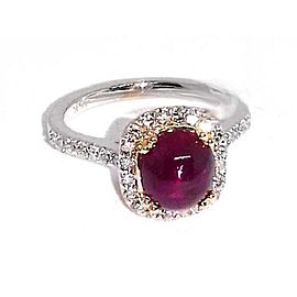 14K White Gold 2.30ct Ruby & 0.40ct Diamonds Ring Size 7.5