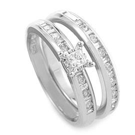 10K White Gold and Diamond Bridal Ring Size 7