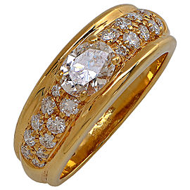 Boucheron 18K Yellow Gold & 0.55ct Diamond Ring Sz 6.25