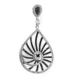 Natalie K 14K White Gold Black & White Diamond Teardrop Pendant