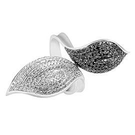 Natalie K 14K White Gold Black & White Diamond Pave Leaf Ring Size 6.5