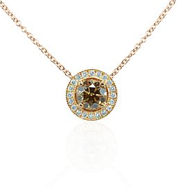 Leibish 18K Rose Gold with 0.83ctw Diamond Milgrain Halo Pendant Necklace