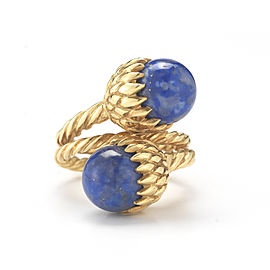 Tiffany & Co. 18K Yellow Gold Schlumberger Lapis Acorn Ring