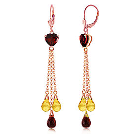 14K Solid Rose Gold Chandelier Earrings with Briolette Garnets & Citrines