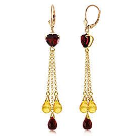 9.5 CTW 14K Solid Gold Chandelier Earrings Briolette Garnet Citrine
