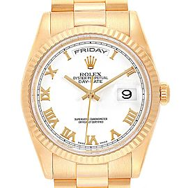 Rolex President Day Date 36 Yellow Gold White Dial Mens Watch 118238