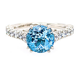 Jack Kelege KPR477RD Platinum Sky Blue Topaz & Diamonds Ring