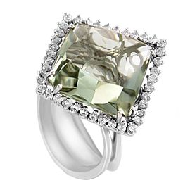 18K White Gold with Green Amethyst & 0.60ct Diamond Ring Size 7.5