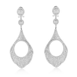 Odelia 18K White Gold Diamond Pave Drop Earrings
