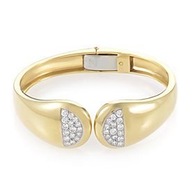 18K Yellow Gold and Platinum with Diamond Cellino Bangle Bracelet