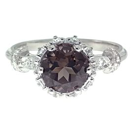 Tacori 18K White Gold Smoky Quartz .25ctw Diamond Ring Size 6.5
