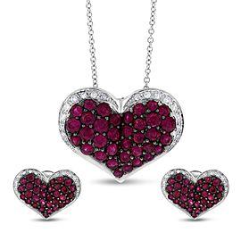 Effy 14k White Gold 2.58 Ct. Ruby & Diamond Heart Pendant & Earrings Set