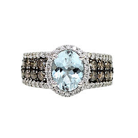 LeVian 14K White Gold Aquamarine, Chocolate & White Diamond Ring Size 7
