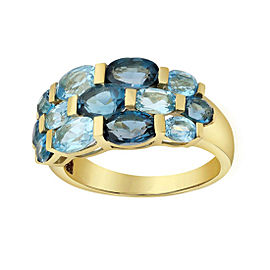 14K Yellow Gold With 4 3/4ct Blue Topaz Ring Size 7