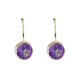 14K Yellow Gold with Amethyst Drop Earrings
