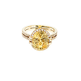 18K Yellow Gold 5.50ct Tanagro Natural Yellow Sapphire and 0.60ct Diamond Ring Size 6