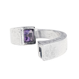 Gucci 925 Sterling Silver Amethyst Nail Bypass Ring Size 7