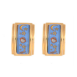 Hermes Gold Tone & Blue Enamel Planet Motif Enamel Clip-On Earrings