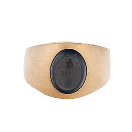 14K Yellow Gold Black Star Sapphire Ring Size 6.75
