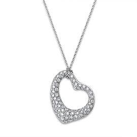 Tiffany & Co Platinum Diamond Elsa Perretti Open Heart Necklace
