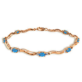 14K Solid Rose Gold Tennis Bracelet with Diamonds & Blue Topaz