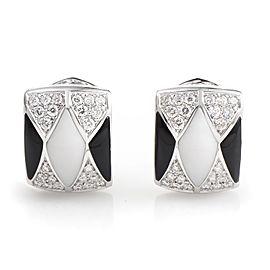 Oro Trend 18K White Gold Onyx & White Agate Diamond Earrings