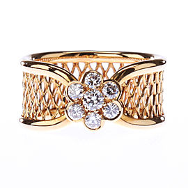 Van Cleef and Arpels 18K Yellow Gold Diamond Fleurrette Ring