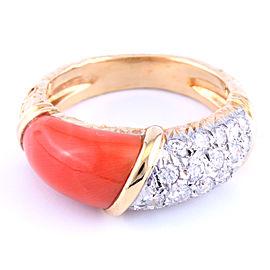 Vintage Van Cleef and Arpels 18K Yellow Gold Diamond Coral Ring