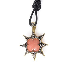Cathy Waterman 22K Yellow Gold Coral & Diamond Sunburst Pendant Necklace