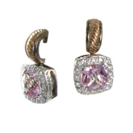 Charles Krypell 14K Rose Sterling Pink Topaz Diamond Earrings