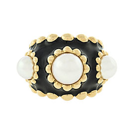 Chanel 18K Yellow Gold Black Enamel Cultured Pearl Ring Size 4.5