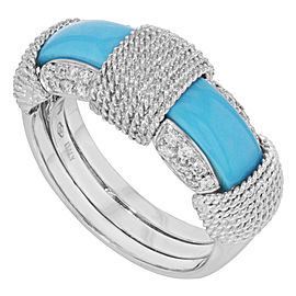 Roberto Coin 18K White Gold with Turquoise and 0.28ctw Diamond Ring Size 7.5