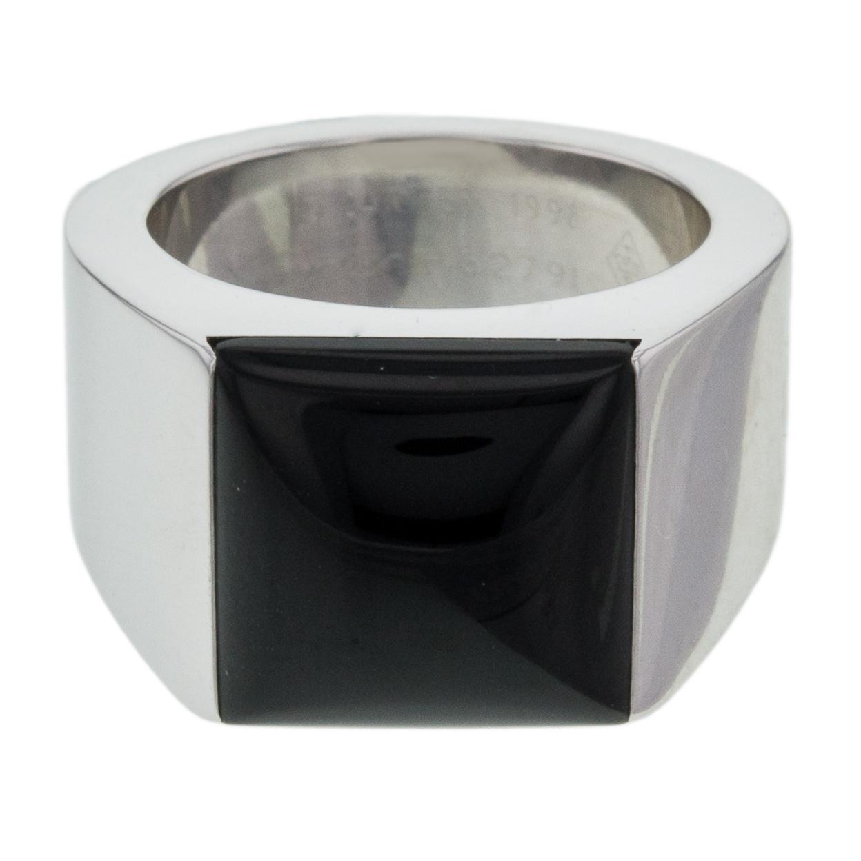 c3c3ced6df3d2 Cartier Tank Ring 18K White Gold Black Onyx Size 5.25