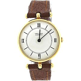 vintage Van Cleef & Arpels Vintage 14K Gold Brown Leather White Dial Watch 22mm