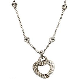 Judith Ripka 925 Sterling Silver Gold Cubic Zirconia Open Heart Pendant Necklace