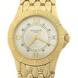 Patek Philippe Neptune 18K Yellow Gold Silver Date 5081/001 Watch