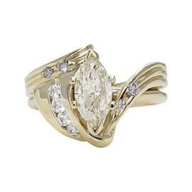 14K Yellow Gold 1.27 Ct Marquise Diamond Engagement Vintage Wedding Ring