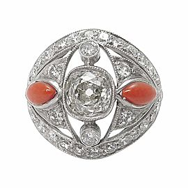 Platinum 2.03ct Diamond Coral Band Ring Size 7.25