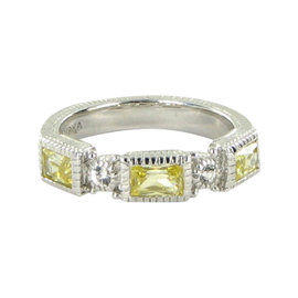 Judith Ripka Sterling Silver Canary Yellow Sapphire & White Sapphire Ring Sz 7