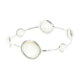 Ippolita 925 Sterling Silver Diamond Quartz & Mother Of Pearl Bangle Bracelet