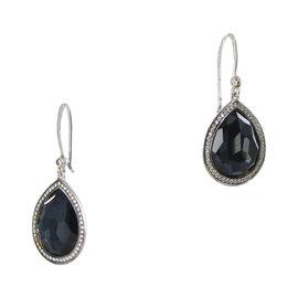 Ippolita 925 Sterling Silver 0.38ct Diamond Quartz & Hematite Teardrop Earrings
