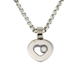 Chopard 750 White Gold Diamond Heart Pendant Necklace