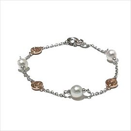 Damiani 18k White Gold and Gold Tone Metal Pearl Bracelet