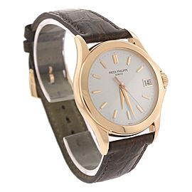 Patek Phillippe Calatrava 5107R 18K Rose Gold / Leather with Ivory Dial 37mm Mens Watch