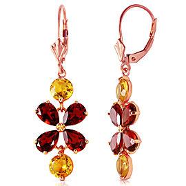 5.32 CTW 14K Solid Rose Gold Chandelier Earrings Citrine Garnet