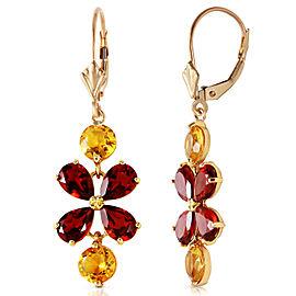 5.32 CTW 14K Solid Gold Chandelier Earrings Citrine Garnet