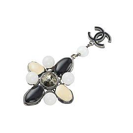 Chanel 04A Coco Mark Silver Tone Bijou Black White Beige Pin Brooch